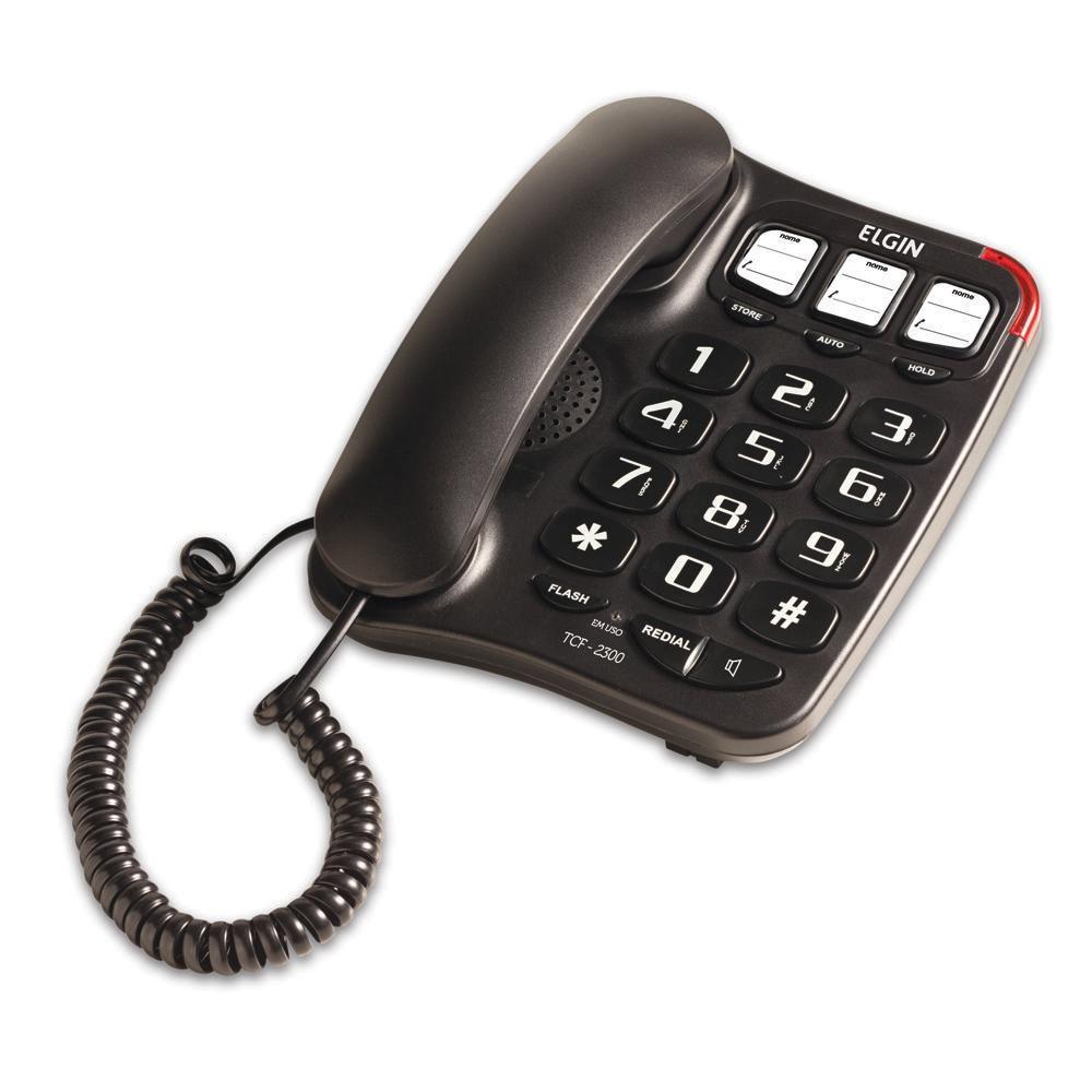 Telefone c/ Fio Viva Voz, Memória Preto TCF 2300 Elgin