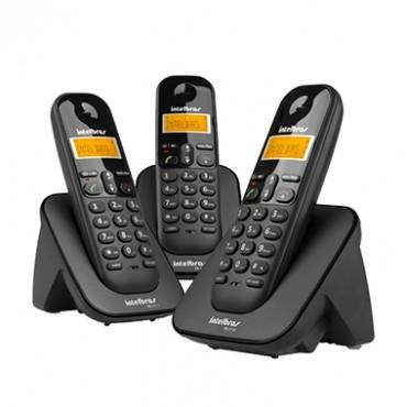 Kit 3 Telefones Sem Fio Ts 3113 (Preto) Intelbras