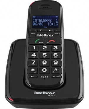 Telefone Sem Fio Ts 63 V (Preto) Intelbras  - Eletroinfocia