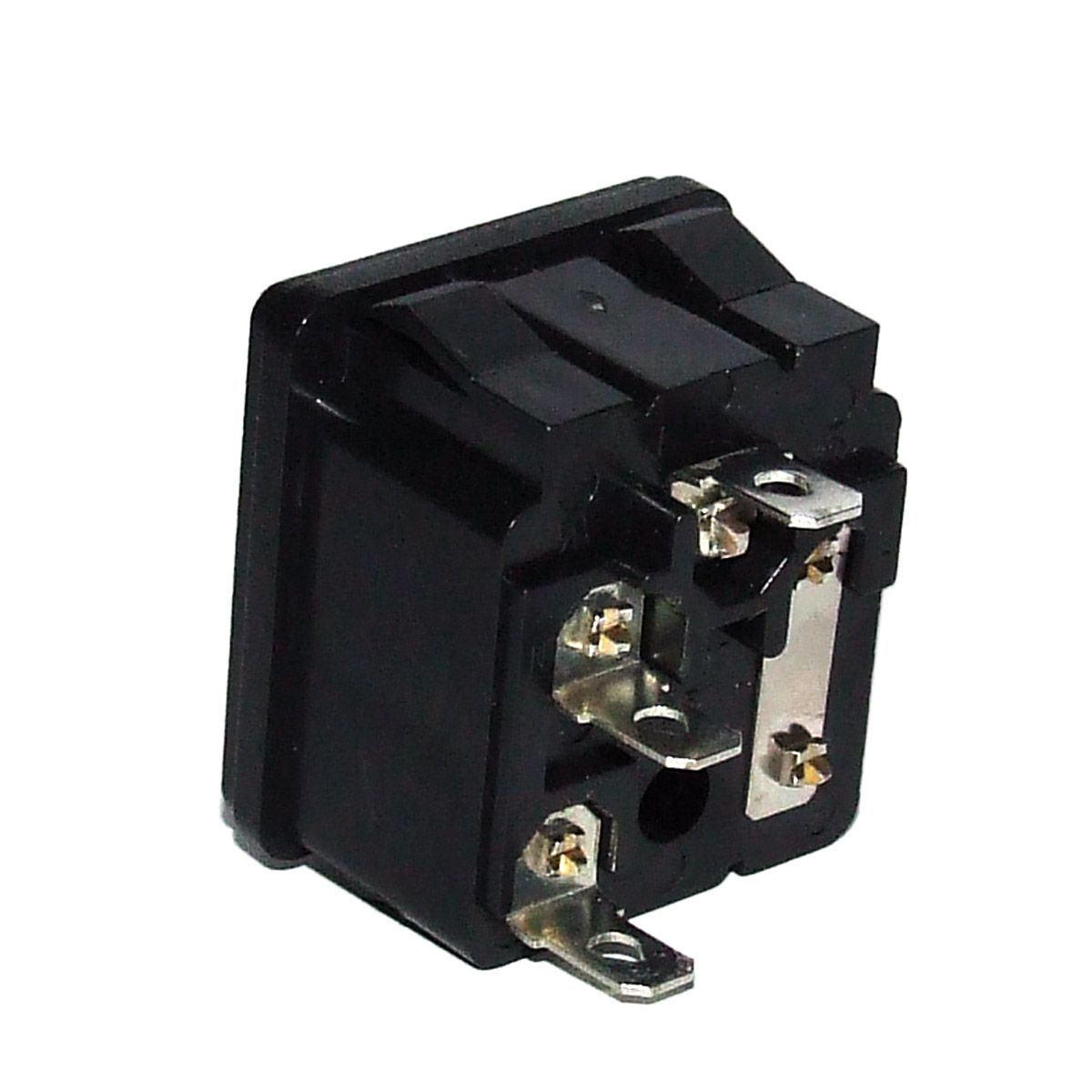 Tomada AC Tripolar 3P Macho Painel c/ Porta Fusível  - Eletroinfocia