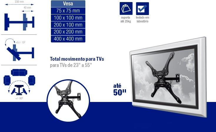X-Monitor Suporte para TV de 23-55 AC260 Multilaser  - Eletroinfocia