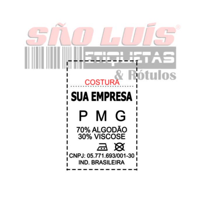 Etiqueta Nylon Confecção 35X55 Personalizada 01 rolo - SÃO LUIS ETIQUETAS BOBINAS E RÓTULOS