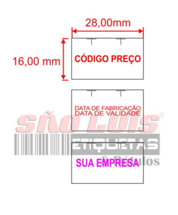 Etiqueta para Etiquetadora Manual MX-2816 Personalizada 200 rolos - SÃO LUIS ETIQUETAS BOBINAS E RÓTULOS