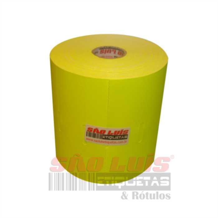 Etiqueta para Gondola 110X30 Cartão Fluorescente Amarelo 09 rolos - SÃO LUIS ETIQUETAS BOBINAS E RÓTULOS