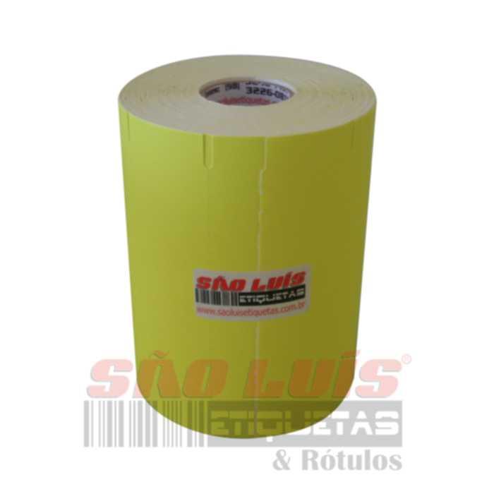 Etiqueta para Gondola 107X30 Adesivo Fluorescente Amarelo 09 rolos - SÃO LUIS ETIQUETAS BOBINAS E RÓTULOS