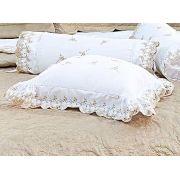Almofada de Cama Branco Bege Dourado em Fio Egipicio Percal 400 fios - Cashemere