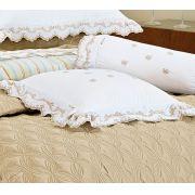 Almofada de Cama Branco Caqui em Fio Egipicio Percal 400 fios - Tritone