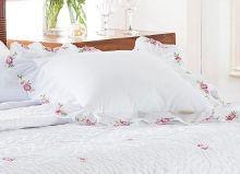 Almofada de Cama Branco em Fio Egipicio Percal 400 fios - Eglantine