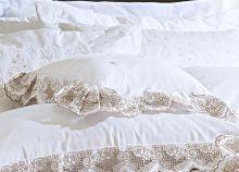 Almofada de Cama Branco Palha em Fio Egipicio Percal 400 fios - Vietri