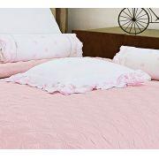 Almofada de Cama Branco Rosa em Fio Egipicio Percal 400 fios - Tritone
