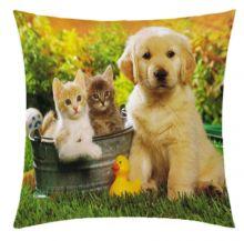 Almofada Desenhada Decoração Cachorrinho e Gatinho Jardim com 2 peças tecido Microfibra - Almofada Digitais