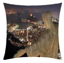 Almofada Desenhada Decoração Cristo Redentor Rio de Janeiro com 2 peças tecido Microfibra - Almofada Digitais