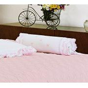 Almofada Rolinho em Fio Egipicio Percal 400 fios cor Branco Rosa - Tritone