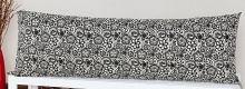 Capa de Travesseirão Rafaela Palha e Preto 1,40m x 45cm com 1 peça