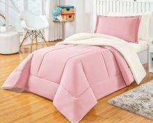 Coberdrom com Porta Travesseiro Solteiro Sherpa 2 peças - Rosê