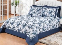 Cobre Leito Artena Super King Floral Azul com 5 peças