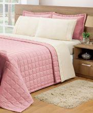 Cobre Leito Casal Soft 3 peças - Rosê