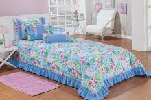 Cobre Leito Ciceralli Solteiro Patchwork Azul Para Menina com 5 peças