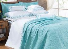 Cobre Leito Darla King Flores Bordadas cor Azul Thiffany com 3 peças