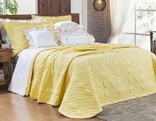 Cobre Leito Darla Queen Flores Bordadas cor Amarelo com 3 peças