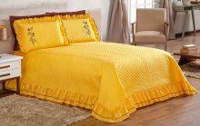 Cobre Leito Ester Queen Amarelo com 3 peças