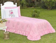 Cobre Leito Flamingo Solteiro Rosa  com 3 peças