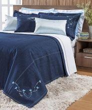Cobre Leito Gallen Queen Detalhe Bordado cor Azul com 9 peças