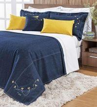 Cobre Leito Gallen Queen Detalhe Bordado cor Azul e Mostarda com 9 peças
