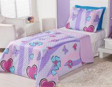 Cobre Leito Infantil Corações e Borboletas - Cobre Leito + Porta Travesseiro