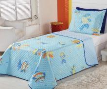 Cobre Leito Infantil Solteiro Oceano Peixinho com 2 peças