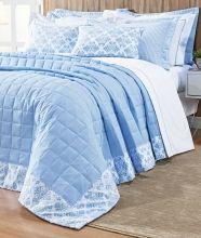 Cobre Leito Lavender Super King Detalhes na Borda cor Azul com 7 peças