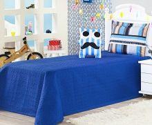 Cobre Leito Life Kids Solteiro Almofada Divertida Bigode cor Azul com 3 peças