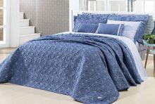 Cobre Leito Ornatto King Azul com 3 peças