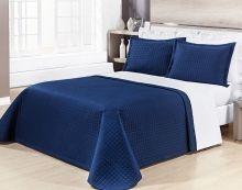 Cobre Leito Pratic Queen Cor Lisa cor Azul com 3 peças