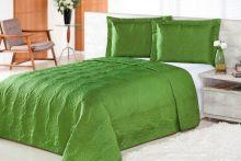 Cobre Leito Queen Pratic Rosas 3 peças  - Verde Musgo