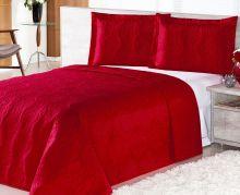 Cobre Leito Queen Pratic Rosas 3 peças  - Vermelho