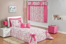 Cobre Leito Robella Solteiro Floral Pink Para Menina com 5 peças