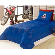 Cobre Leito Solteiro Cross Azul Bic com 3 peças em Algodão e Poliéster