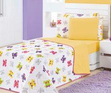 Cobre Leito Solteiro Kids Caveiras Coloridas Estampado com 4 peças
