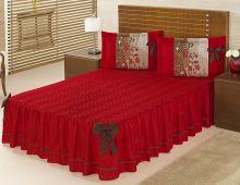 Colcha Casal Bruna Vermelho Liso com 5 peças