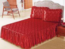 Colcha Casal Mirela 3 peças  - Vermelho