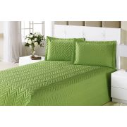 Colcha Clean Queen Verde com 4 peças Algodão e Poliester
