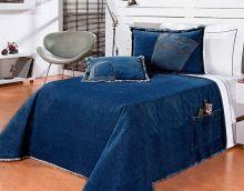 Colcha / Cobre Leito Cama Solteiro Azul escuro Algodão com 4 peças - CobreLeito Street