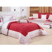 Colcha de Cama Solteiro Vermelho com floral Percal 200 fios com 6 peças - Colcha Agatha
