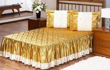 Colcha Rosas Cetim Casal Dourado com 5 peças