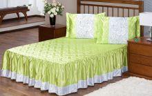 Colcha Rosas Cetim Casal Verde com 5 peças