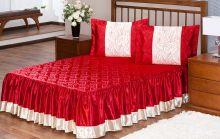Colcha Rosas Cetim Casal Vermelho com 3 peças
