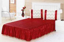 Colcha Suely Casal Vermelha com 5 peças Poliéster e Polipropileno