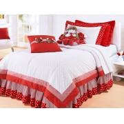 Colcha Vermelha e Branca para Cama de Menina em Algod�o Percal 200 fios com 04 pe�as - Isabely