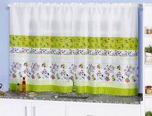 Cortina Cozinha 2 metros Animais Vaquinhas 1 peças  - Verde